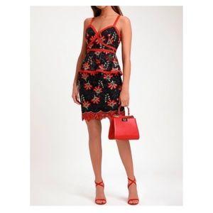 NWT Lulus Karina Black Floral Embroidered Dress